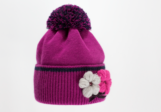 Красивая качественная вязаная шапка с отворотом женская., фото 2