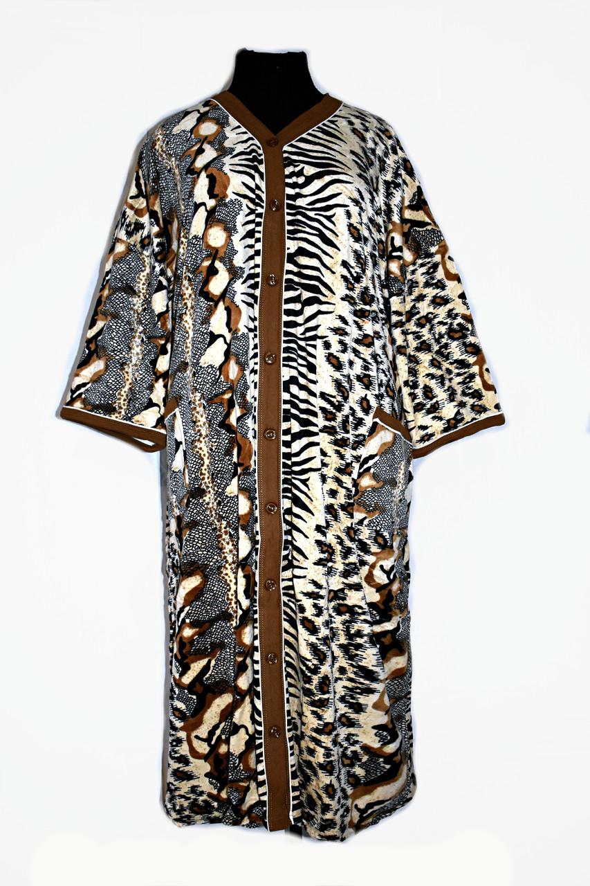 Халат женский велюровый большие размеры от 52 до 74 супер Батал