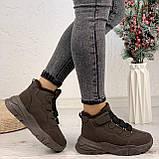 Только 38 р 24 см! Женские высокие кроссовки ЗИМА коричневые / кофейные эко замш, фото 3