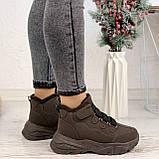 Только 38 р 24 см! Женские высокие кроссовки ЗИМА коричневые / кофейные эко замш, фото 4