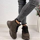Только 38 р 24 см! Женские высокие кроссовки ЗИМА коричневые / кофейные эко замш, фото 5