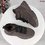 Только 38 р 24 см! Женские высокие кроссовки ЗИМА коричневые / кофейные эко замш, фото 7