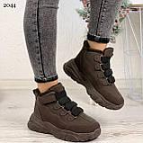 Только 38 р 24 см! Женские высокие кроссовки ЗИМА коричневые / кофейные эко замш, фото 8