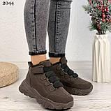 Только 38 р 24 см! Женские высокие кроссовки ЗИМА коричневые / кофейные эко замш, фото 9