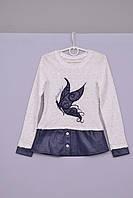 Блуза для девочек с рукавом бело синяя  Л-59  рост 122 128 134, фото 1