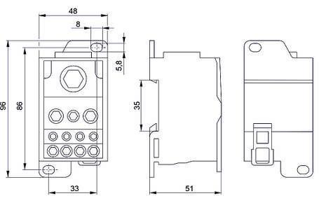 Блок распределительный РБД-400А на DIN-рейку IEK, фото 2