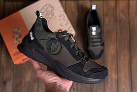 Мужские кожаные кроссовки Pitbull оливково-черные