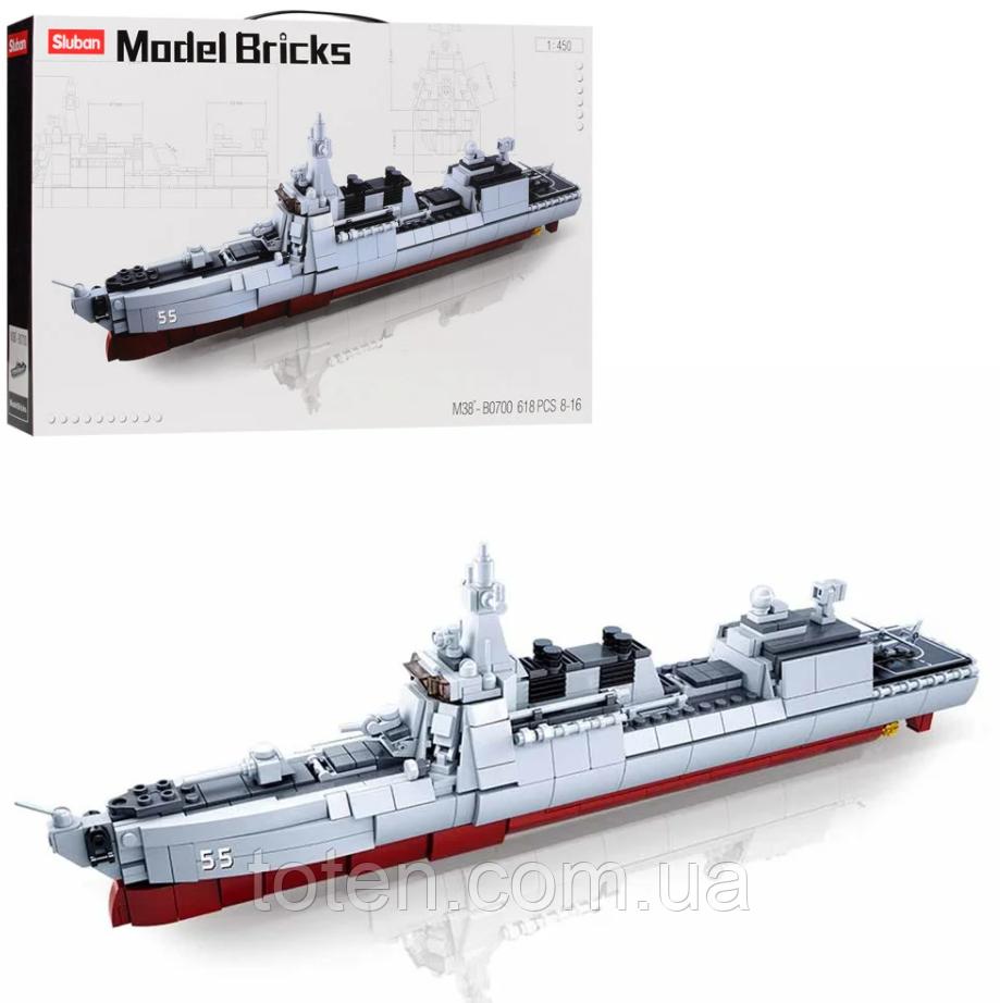 Конструктор SLUBAN M38-B0700 военный корабль, 1:450, 42 см, самолет, 618 дет