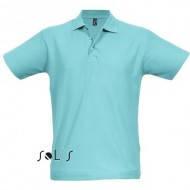Рубашка поло с коротким рукавом мужская бирюзовая хлопковая летняя