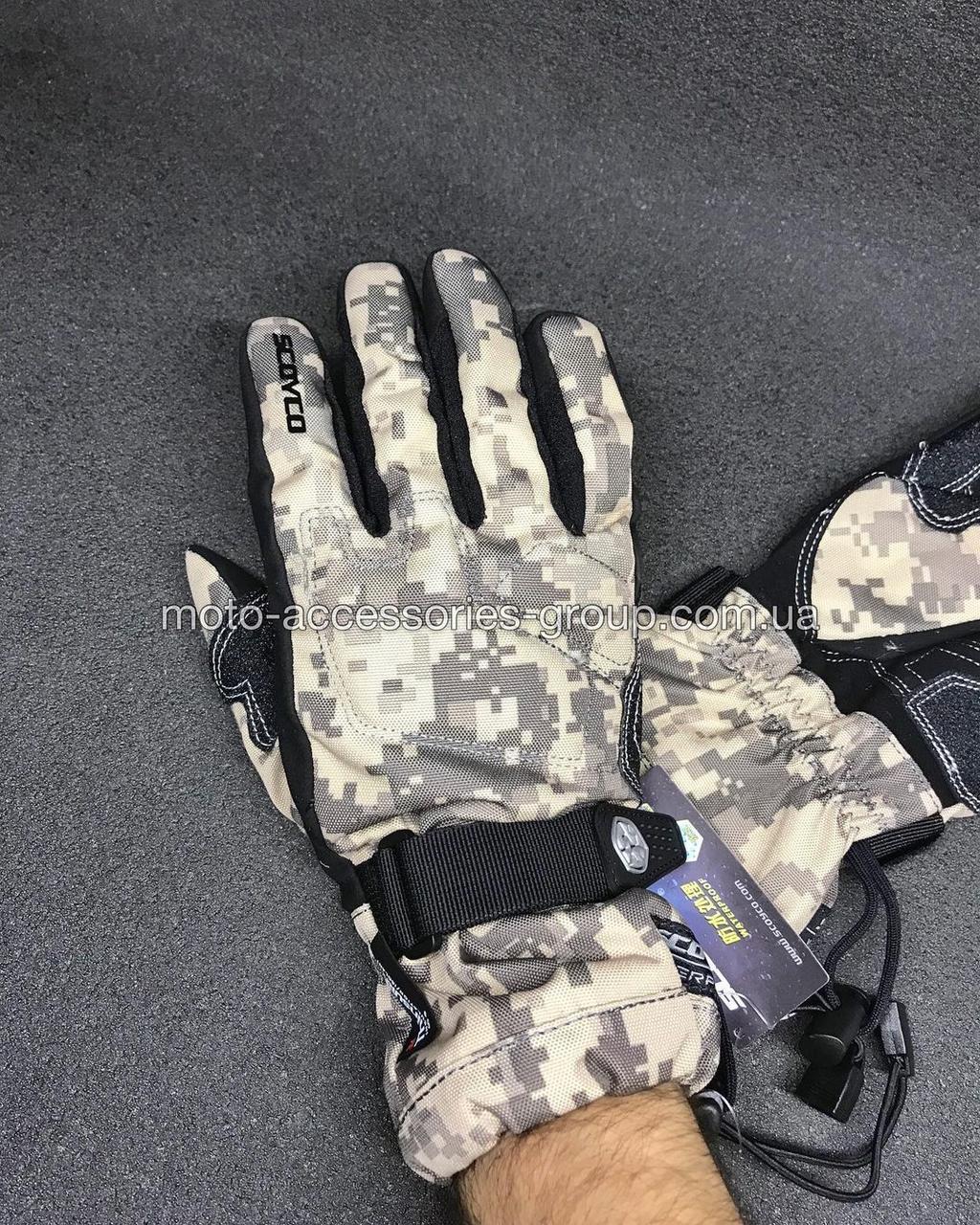 Мото перчатки SCOYCO камуфляж теплые, осень-зима