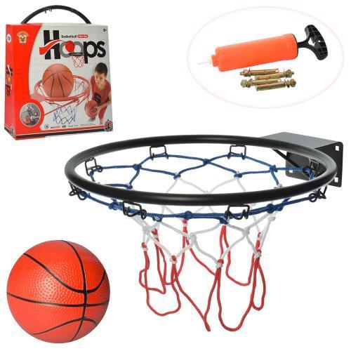 Баскетбольное металлическое кольцо с сеткой для ребенка M 5966 с мячом и насосом в комплекте (диаметр 39 см)