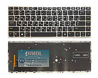 Клавиатура для HP EliteBook Folio 9470m series, ru, black, серебристая рамка, подсветка