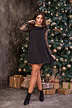 Платье свободного А-кроя, с прозрачным рукавом норма и батал, р.42-46, 48-52, 54-58 Код 1277Х, фото 6