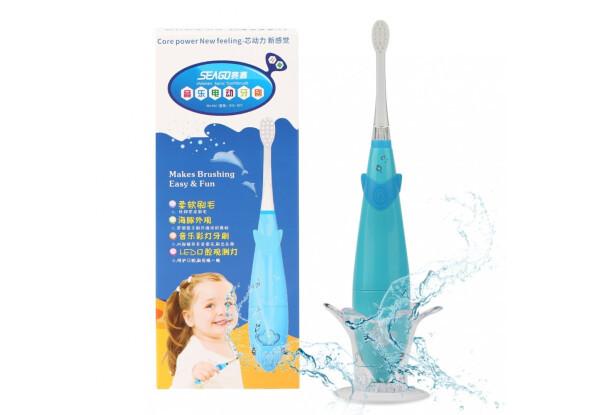 Детская электрическая звуковая зубная щетка Seago SG921 Sonic с музыкальным таймером Blue