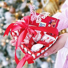 Подарочный набор в форме сердца с шоколадкой Риттер Спорт
