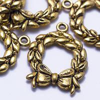 Кулон Венок, Металл, Цвет: Античное Золото, Размер: 25х19х3мм, Отверстие 2мм, (БА000001584)