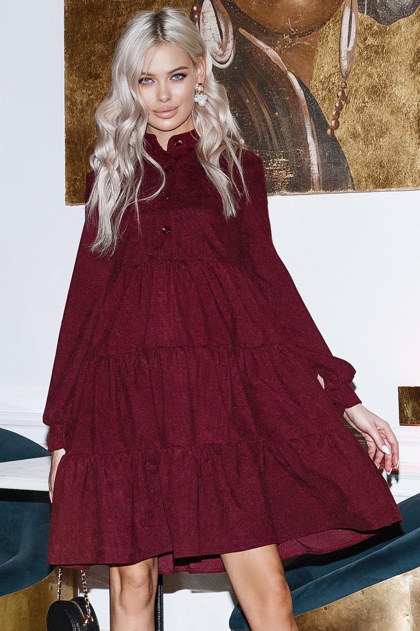 Женское вельветовое платье Марсала