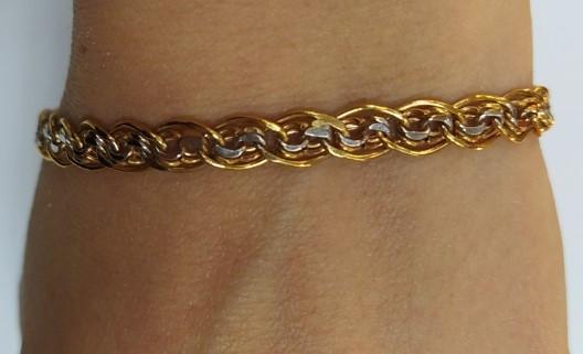 Золотой браслет Мона Лиза с белым золотом р18