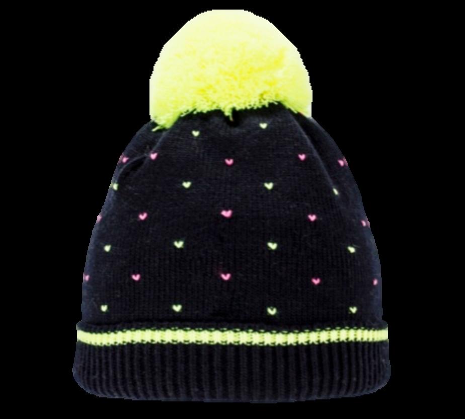 Стильная оригинальная  вязаная женская шапочка с ярким бумбоном