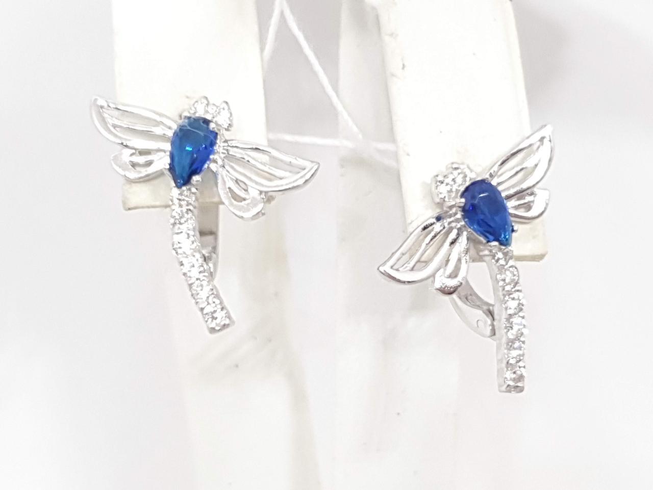 Срібні сережки з фіанітами. Артикул 20134Р