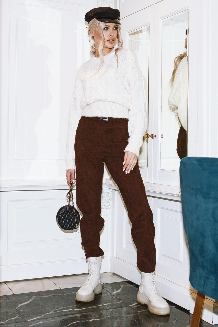Женские вельветовые брюки Шоколадный