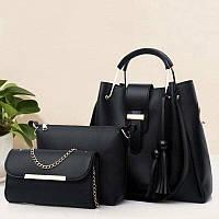 Набор из 3 сумок из кожзама. Цвет черный CC3514-10