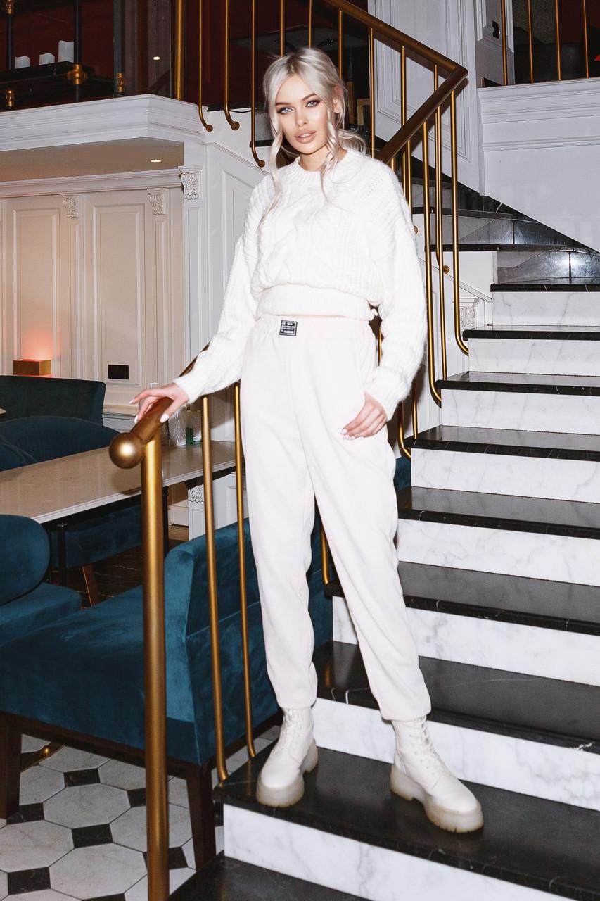 Женские вельветовые брюки Бежевый