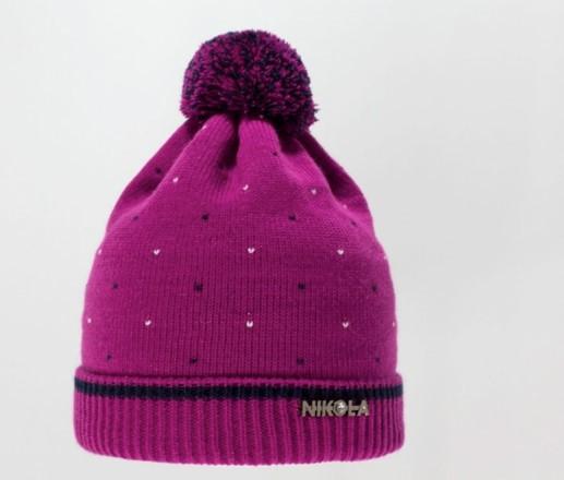 Детская красивая качественная вязаная шапочка бумбоном
