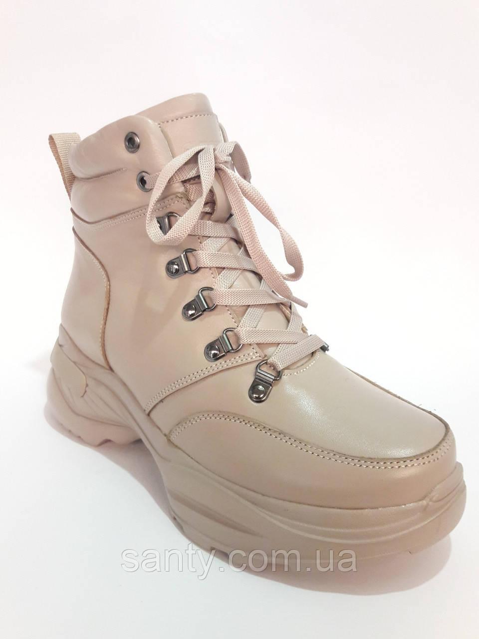 Зимние ботинки - кроссовки из натуральной кожи. Зимові жіночі чоботи - кросівки