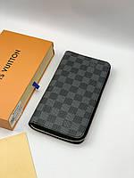 Кошелек LOUIS VUITTON серая шашка на молнии кожаный клатч портмоне бумажник мужской женский премиум реплика, фото 1