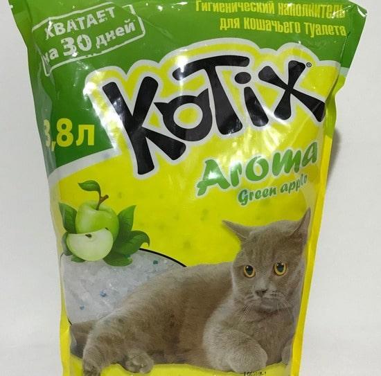 Наполнитель силикагелевый Kotix (Котикс) Green Apple с ароматом зеленого яблока 3,8л для кошачьего туалета