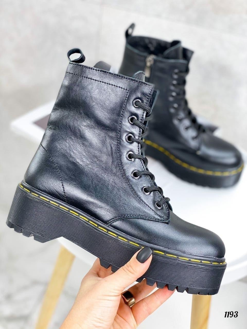 Только 36 р! Женские ботинки ЗИМА / зимние черные на шнуровке натуральная кожа