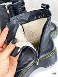 Только 36 р! Женские ботинки ЗИМА / зимние черные на шнуровке натуральная кожа, фото 4