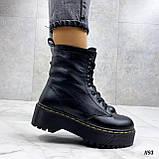 Только 36 р! Женские ботинки ЗИМА / зимние черные на шнуровке натуральная кожа, фото 2