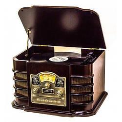 Ретро проигрыватель винила Daklin «Даллас», дерево, шоколадный орех (RP-131) граммофон с USB, CD, SD, радио