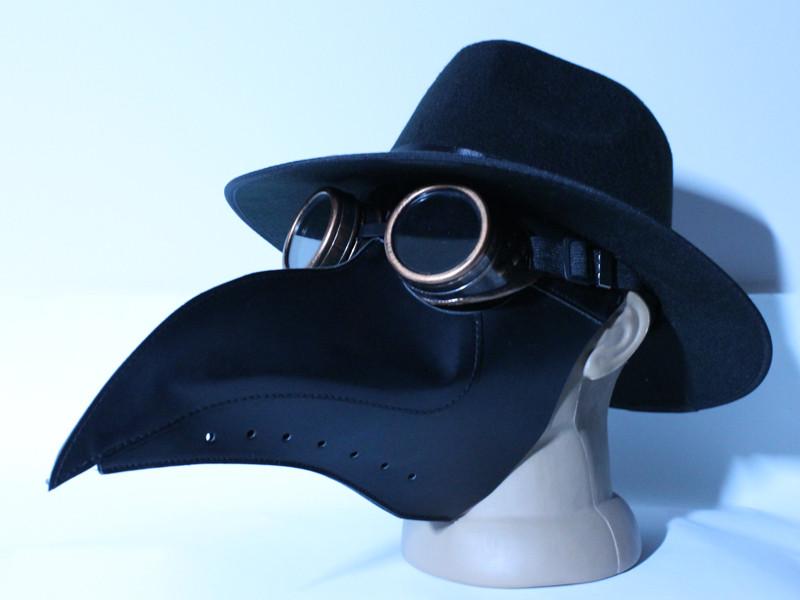 Маска Чумного Доктора в шляпе с очками гогглы