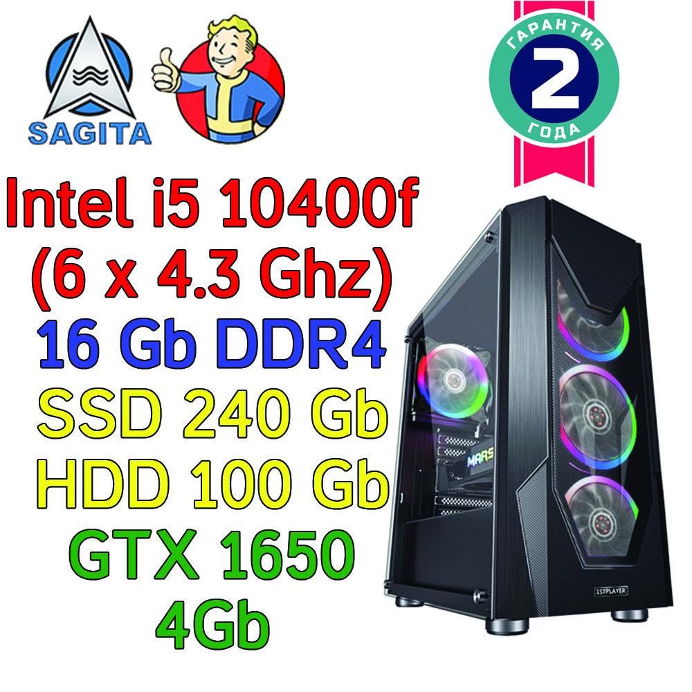 Игровой компьютер intel i5-10400f + 16Gb + SSD 240Gb + HDD 1000Gb + GTX 1650 4Gb