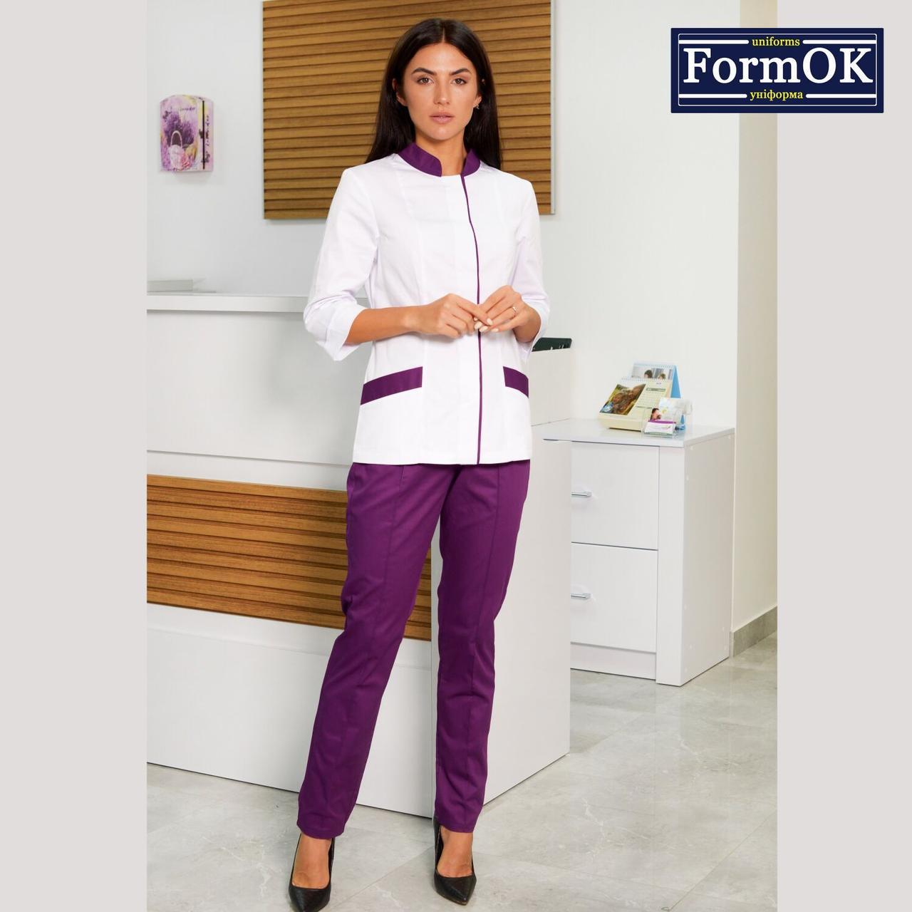 Женские медицинские костюмы Avrora бело-фиолетовый, 46