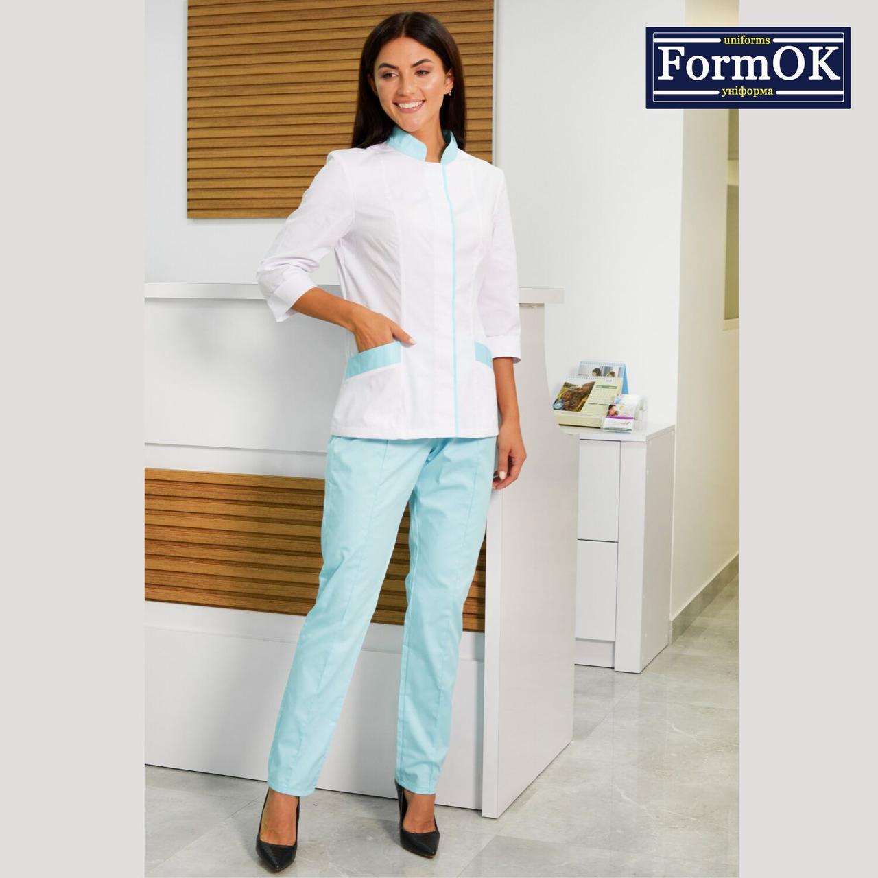 Женские медицинские костюмы Avrora бело-голубой, 46