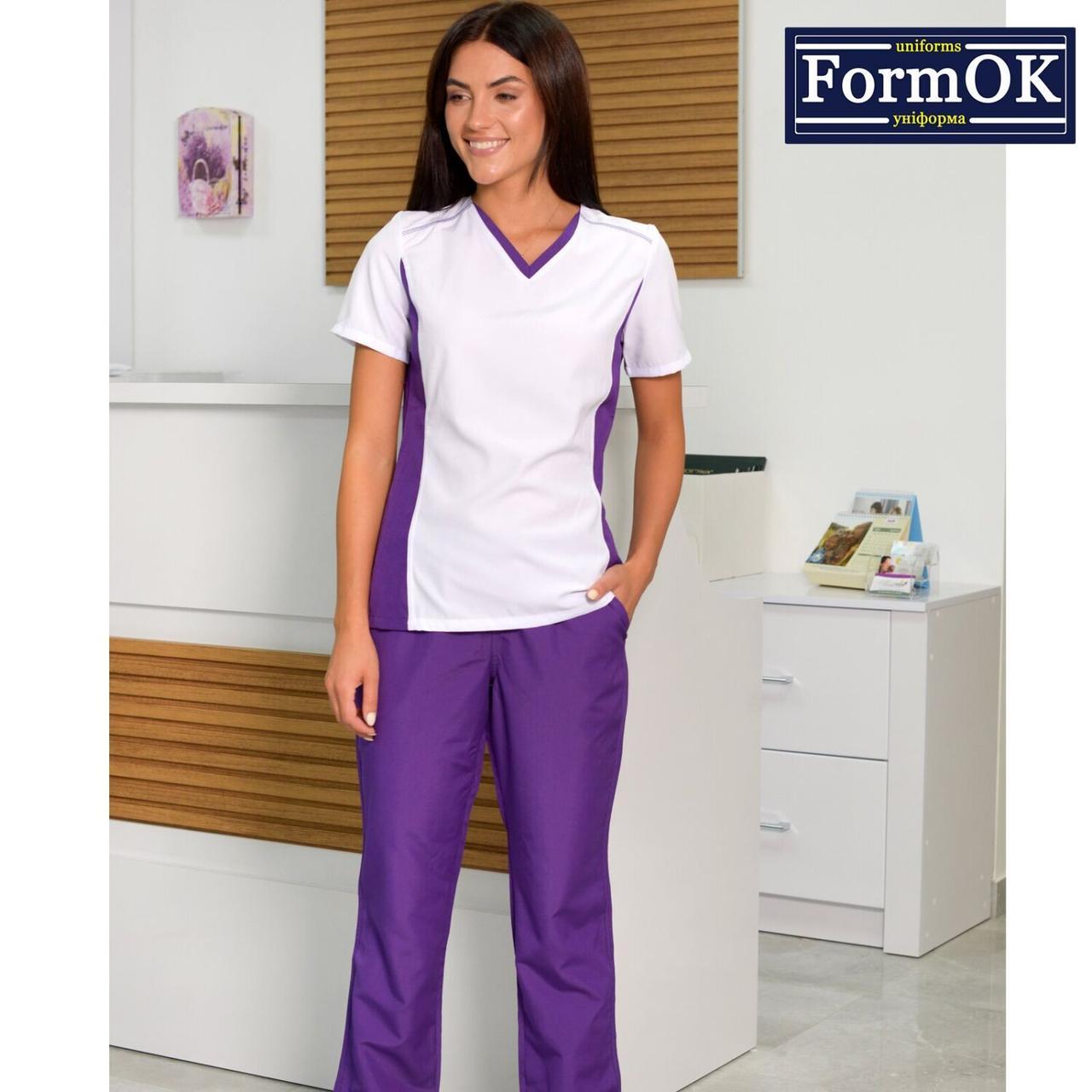 Женские медицинские костюмы Ариша бело-фиолетовая, 40