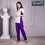 Женские медицинские костюмы Ариша бело-фиолетовая, 40, фото 6