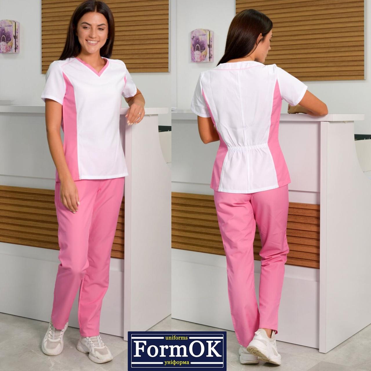 Женские медицинские костюмы Ариша бело-розовый, 40