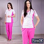 Женские медицинские костюмы Ариша бело-розовый, 40, фото 7