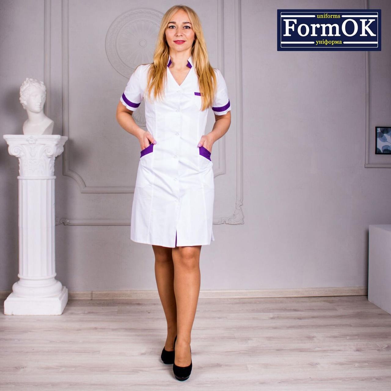 Женский медицинский халат Анна бело-фиолетовый, 44