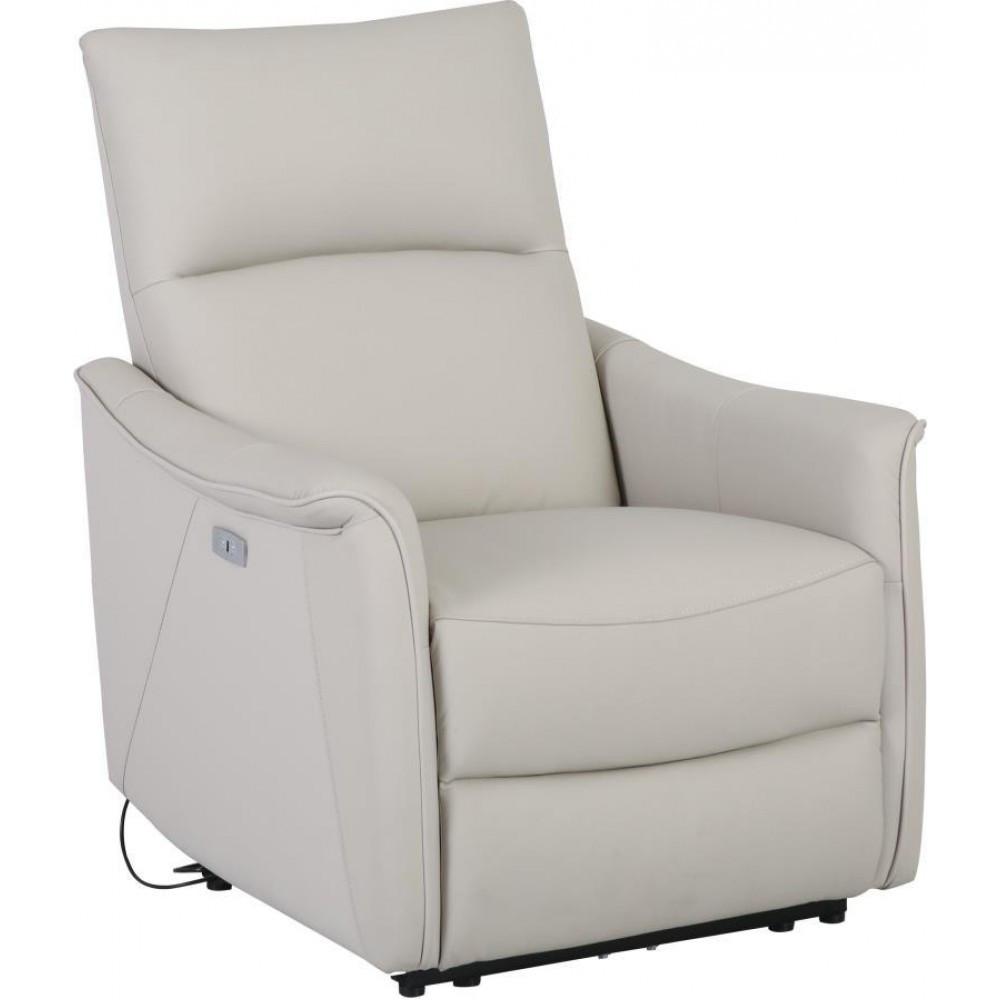 Кресло Arimax Calgary с электрореклайнером кожа светло-серый (U0000285)