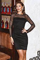 Нарядное замшевое платье Черный