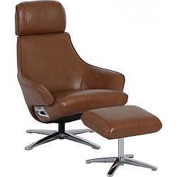 Кресло Doctor Max DM02008 поворотное с реклайнером и пуфом кожа охра (U0000309)
