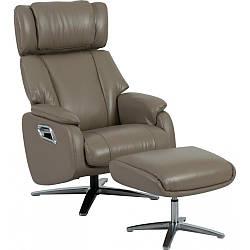 Кресло Doctor Max DM02009 поворотное с реклайнером и пуфом кожа светло-кофейный (U0000311)