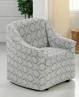 Чехол на кресло Жакард Evibu Турция 50278 светло-серый