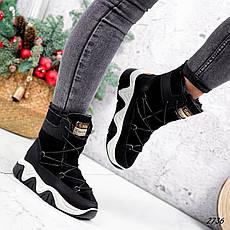 Ботинки женские черные, зимние из эко замши. Черевики жіночі теплі чорні на платформі, фото 3